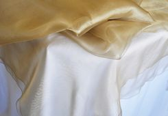 """90"""" Square Organza Table Overlay - Antique Gold 51029 (1pc/pk)"""