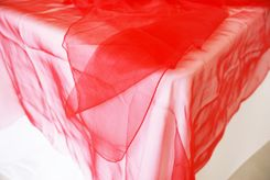 """90"""" Square Organza Table Overlay - Red 51012 (1pc/pk)"""