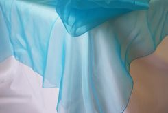 """90"""" Square Organza Table Overlay - Turquoise 51085 (1pc/pk)"""