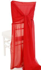 Chiffon Chiavari Chair Cover with Sash - Apple Red(1pc/pk)