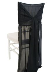 Chiffon Chiavari Chair Cover with Sash - Black(1pc/pk)