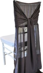 Chiffon Chiavari Chair Cover with Sash - Chocolate(1pc/pk)