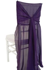 Chiffon Chiavari Chair Cover with Sash - EggPlant(1pc/pk)
