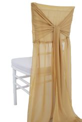 Chiffon Chiavari Chair Cover with Sash - Gold(1pc/pk)