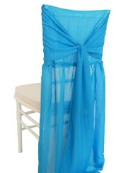 Chiffon Chiavari Chair Cover with Sash - Turquoise(1pc/pk)