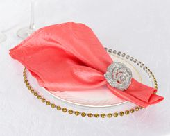 "20""x 20"" Crushed Taffeta Table Napkins - Coral 61306 (10pcs/pk)"