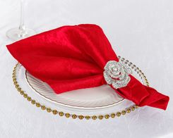 "20""x 20"" Crushed Taffeta Table Napkins - Red 61312 (10pcs/pk)"