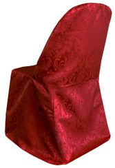 Damask Jacquard Polyester Folding Chair Covers - Apple Red 97108 (1pc/pk)