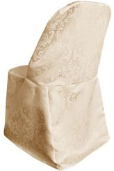Damask Jacquard Polyester Folding Chair Covers - Champagne 97128(1pc/pk)