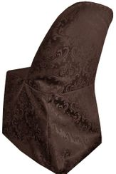 Damask Jacquard Polyester Folding Chair Covers - Chocolate 97191(1pc/pk)