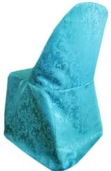 Damask Jacquard Polyester Folding Chair Covers - Turquoise 97185(1pc/pk)