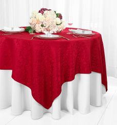 """72"""" Damask Jacquard Polyester Table Overlays - Apple Red 96408 (1pc/pk)"""
