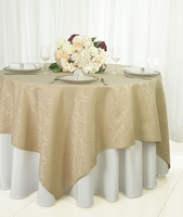 """72"""" Damask Jacquard Polyester Table Overlays - Champagne 96428 (1pc/pk)"""