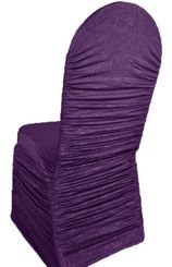 Embossed Rouge Spandex Chair Covers - Eggplant 62745(1pc/pk)
