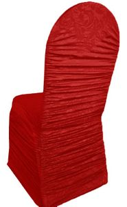 Embossed Vintage Rouge Ruffle Spandex Banquet Chair Covers (7 colors)