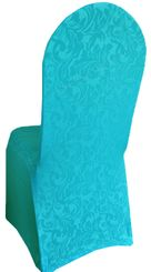 Embossed Vintage Spandex Chair Covers - Turquoise 62685(1pc/pk)