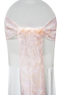 Embroidered Organza Chair Sashes - Blush Pink 90515 (10pcs/pk)