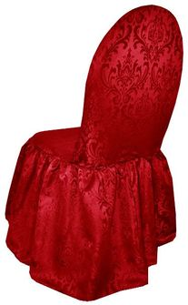 Jacquard Damask Polyester Banquet Skirt Chair Cover - Apple Red (1pc/pk)