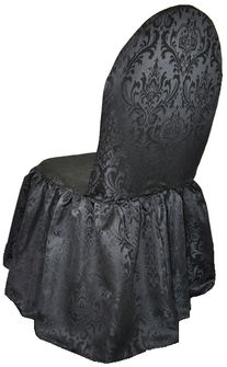 Damask Jacquard Polyester Banquet Skirt Chair Cover - Black 97239-1 (1pc/pk)