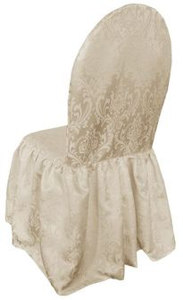 Jacquard Damask Polyester Banquet Skirt Chair Cover - Champagne (1pc/pk)