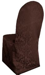Jacquard Damask Polyester Banquet Chair Cover - Chocolate (1pc/pk)