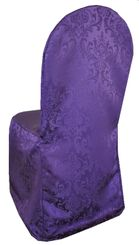 Jacquard Damask Polyester Banquet Chair Cover - Eggplant(1pc/pk)
