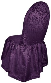 Jacquard Damask Polyester Banquet Skirt Chair Cover - Eggplant (1pc/pk)