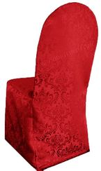 Jacquard Damask Polyester Banquet Chair Cover - Apple Red 97208 (1pc/pk)