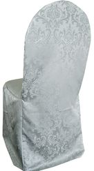Jacquard Damask Polyester Banquet Chair Cover - Silver (1pc/pk)