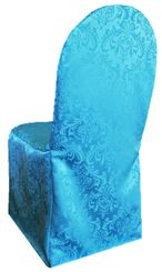 Jacquard Damask Polyester Banquet Chair Cover - Turquoise(1pc/pk)