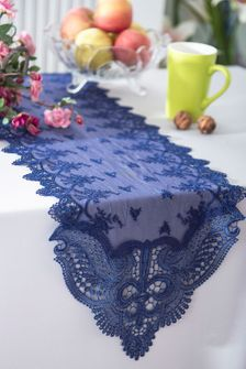 """12""""x 108""""Jasmine Raschel Lace Embroidered Table Runner (5 Colors)"""