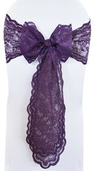 Lace Chair Sashes - Eggplant 90145 (10pcs/pk)