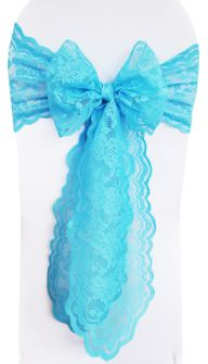 Lace Chair Sashes -Turquoise 90185 (10pcs/pk)