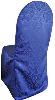 Marquis Damask Jacquard Polyester Banquet Chair Covers - Navy Blue 99223 (1pc/pk)