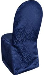 Damask Banquet Marquis Jacquard Polyester Chair Covers - Navy Blue 99223 (1pc/pk)