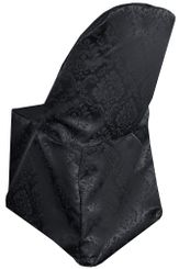 Marquis Damask Jacquard Polyester Folding Chair Cover - Black 99139(1pc/pk)