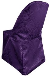 Marquis Damask Jacquard Polyester Folding Chair Cover - Eggplant 99145(1pc/pk)