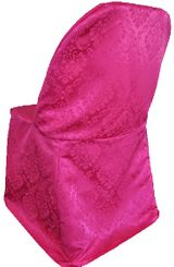 Marquis Damask Jacquard Polyester Folding Chair Cover - Fuchsia 99109(1pc/pk)