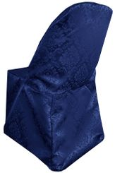 Marquis Damask Jacquard Polyester Folding Chair Cover - Navy Blue 99123(1pc/pk)