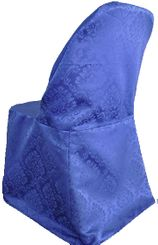 Marquis Damask Jacquard Polyester Folding Chair Cover - Royal Blue 99122(1pc/pk)