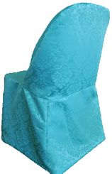 Marquis Damask Jacquard Polyester Folding Chair Cover - Turquoise 99185(1pc/pk)