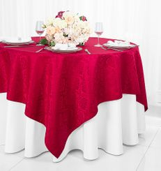 """72"""" Marquis Damask Jacquard Polyester Table Overlays - Apple Red 98408 (1pc/pk)"""