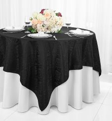 """72"""" Marquis Damask Jacquard Polyester Table Overlays - Black 98439 (1pc/pk)"""