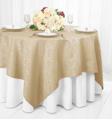 """72"""" Marquis Damask Jacquard Polyester Table Overlays - Champagne 98428 (1pc/pk)"""