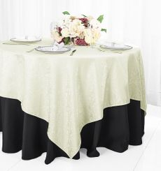 """72"""" Marquis Damask Jacquard Polyester Table Overlays - Ivory 98402 (1pc/pk)"""