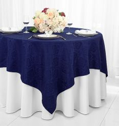 """72"""" Marquis Damask Jacquard Polyester Table Overlays - Navy Blue 98423 (1pc/pk)"""