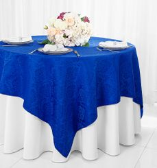 """72"""" Marquis Damask Jacquard Polyester Table Overlays - Royal Blue 98422 (1pc/pk)"""