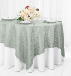 """72"""" Marquis Damask Jacquard Polyester Table Overlays - Silver 98440 (1pc/pk)"""