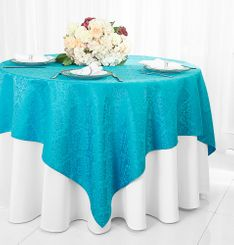 """72"""" Marquis Damask Jacquard Polyester Table Overlays - Turquoise 98485 (1pc/pk)"""