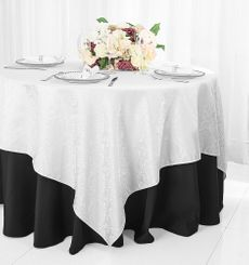 """72"""" Marquis Damask Jacquard Polyester Table Overlays - White 98401 (1pc/pk)"""